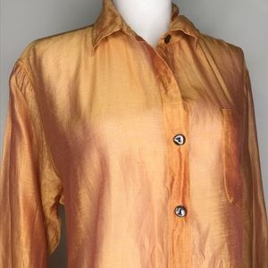Chico's Tops - Chico's Orange Silk Blend Crop Blouse Top A030641